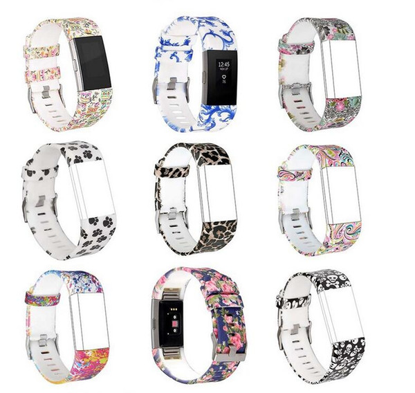 For fitbit charge 2 pattern wri t  trap colorful watchband fa hion  port   ilicone watchband bracelet  trap band wri tband