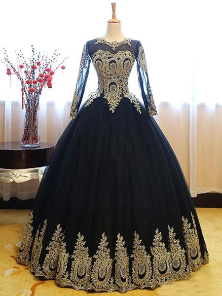 2018 Newest Black Gold Lace Quinceanera Dresses Plus Size Sheer Long Sleeves Corset Back Tulle Sweet 16 Party Evening Ball Gown Prom Dress