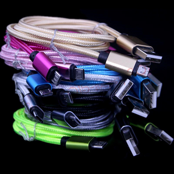 1m 3ft 2m 6ft 3m 10ft alloy fabric braided micro v8 5pin u b data charger cable for  am ung  4  6  7