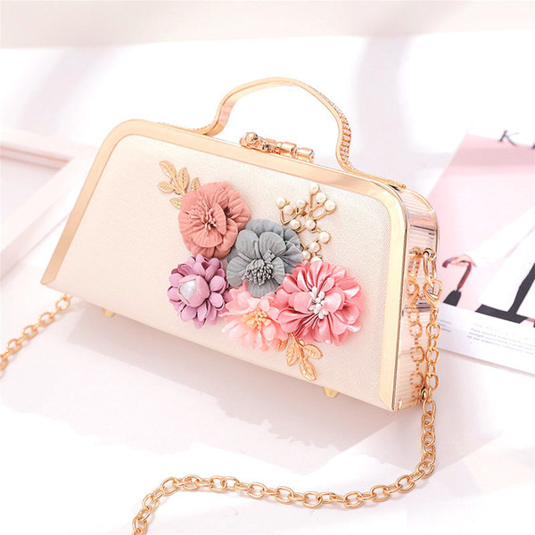 3d flower women evening bag floral metal frame chain clutch small girl shoulder messenger handbag party wedding purse (423591130) photo