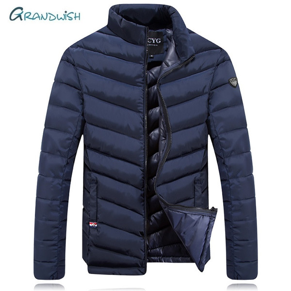 Grandwish New  Winter Thick Warm Outwear Parka Winter Jacket Men Stand Collar Coat Zipper Mens Casual Jacket Outwear, DA906