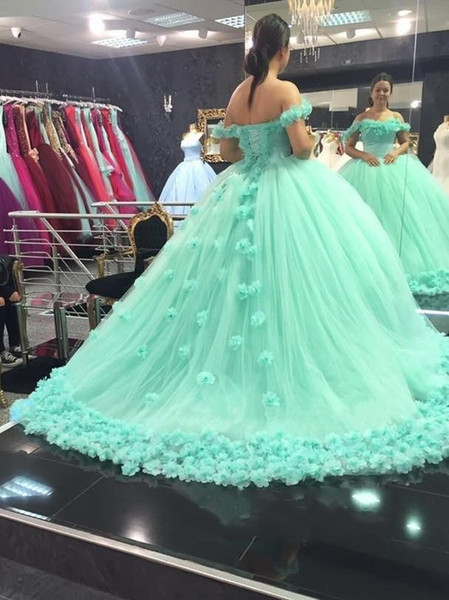 2018 mint Ball Gown Quinceanera Dresses 3D Hand Made Flowers Off Shoulder Sweet 16 Plus Size Princess Tulle Cheap Masquerade Prom Gowns
