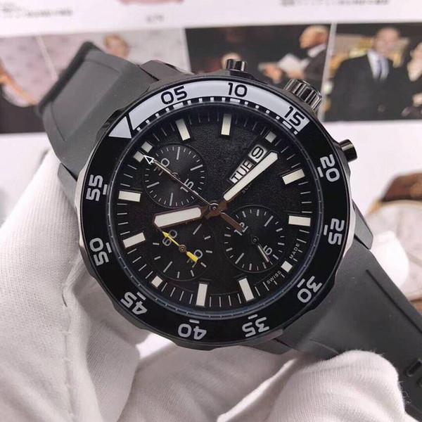 2018 новые мужские наручные часы роскошный резиновый ремешок спортивные часы 007 черные циферблаты с датой хронографа часы мужчины