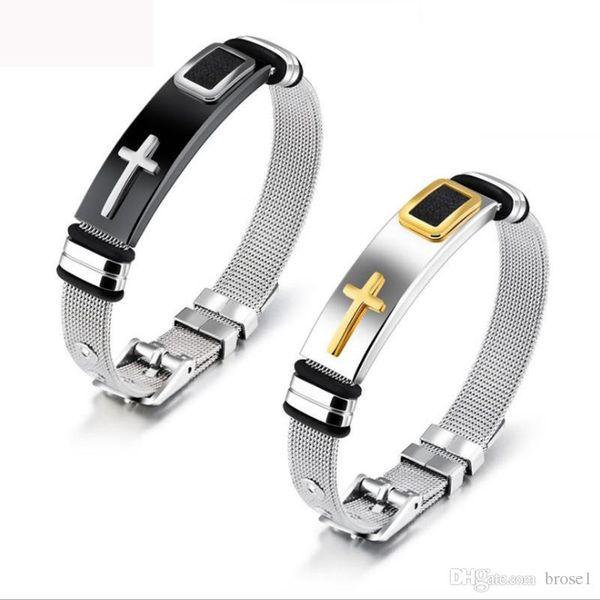 Ювелирные изделия Оптовая стальной сетки браслет с браслет золотой крест титана