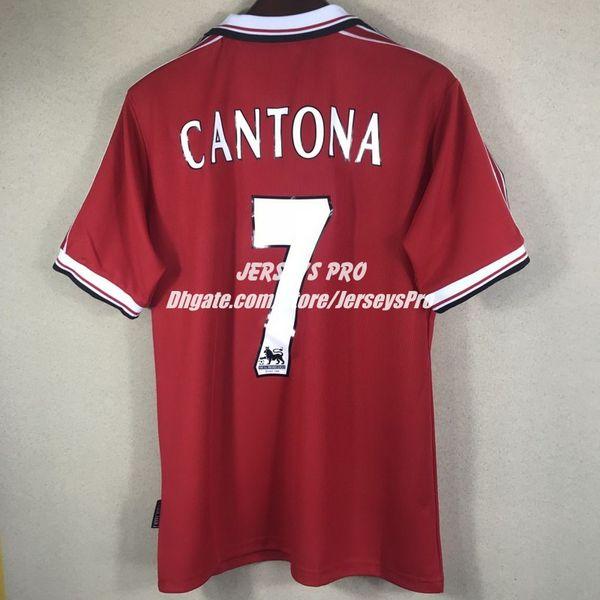 Eric cantona 1998 1999 98 99 retro occer jer ey cami eta old trafford home red football hirt top maillot de foot maglia di calcio