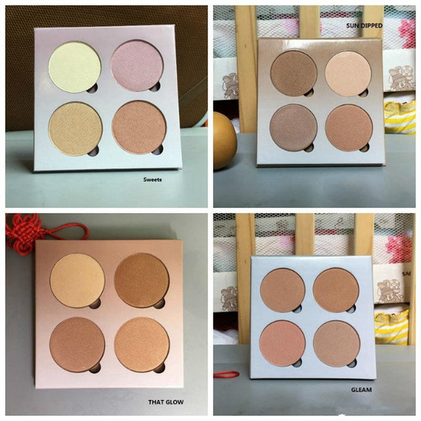 2018 new highlight eye hadow palette 4 color gleam that weet un makeup highlighter palette dhl hipping