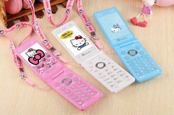 Original kuh d10 touch  creen dual  im card flip phone gpr  breath light cell phone women girl mp3 cartoon hello kitty mobile phone