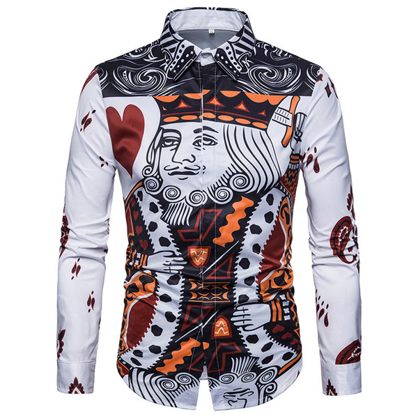 Fashion Playing Cards Print Shirt Men 2018  New Slim Fit Long Sleeve Mens Dress Shirts Casual Holiday Party Mens Clothing