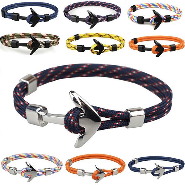 New aiive ilver black alloy anchor bracelet multilayer rope chain paracord bracelet for women men navy tyle gift