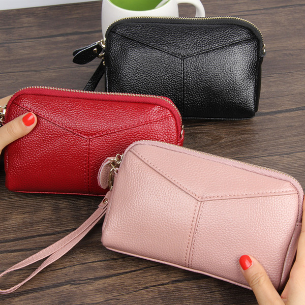 women's leather handbag soft leather clutch purse purse pocket purse mini mobile phone bag (420113414) photo