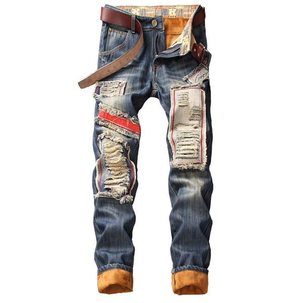 2020 Men's Winter Warm Jeans Pants Fleece Destroyed Ripped Denim Trousers Thick Thermal Distressed Biker Jeans for Men Clothes