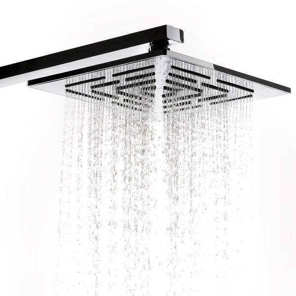 8-дюймовая хромированная квадратная насадка для душа с дождевой насадкой 248 отверстий для душа из нержавеющей стали с дождевой насадкой (не включая душевую насадку)