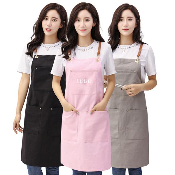 BBQ Senior Simple Denim Canvas Apron Bib Leather Straps Kitchen Apron for Women Barber cooking baking Waitress Custom Print