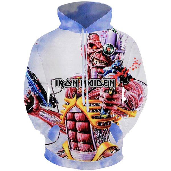 Cloudstyle 2018 3D Hoodies Men Iron Maiden Heavy Metal Band 3D Print Pullovers Fashion Tops Tracksuit High Street Plus Size 5XL