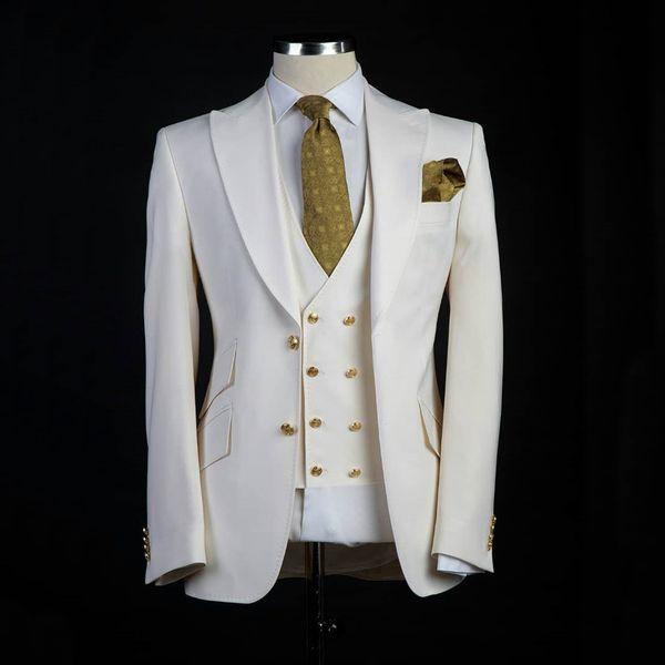 Классический стиль Жених Смокинги Большой Pesked Отворот Жених Костюм Белый пиджак в качестве Свадебного костюма На заказ Мужская куртка + брюки + жилет