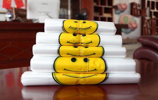 Transparent Smiling Face Portable Plastic Bags Customized Fresh Material Waterproof Multi-purpose Vest Shopping Bags