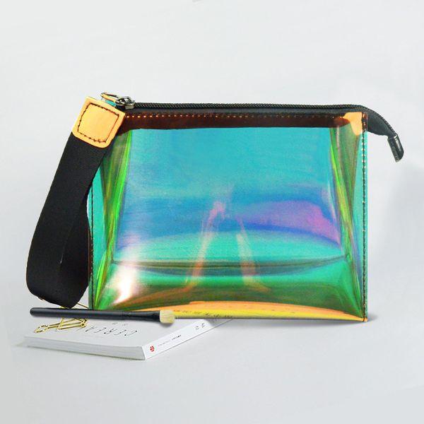 Ясно лазер макияж сумки для женщин TPU лазер ослепляет цвет сумки путешествия хранения желе мешок новый фото