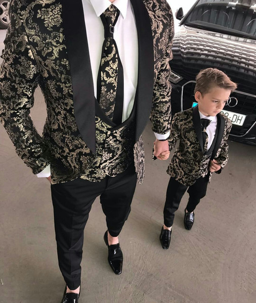2019 Men Suits Two Pieces Beach Groomsmen Wedding Tuxedos For Men Peaked Lapel Formal Prom Suit (Jacket+Pants) Little Boys Formal Wear