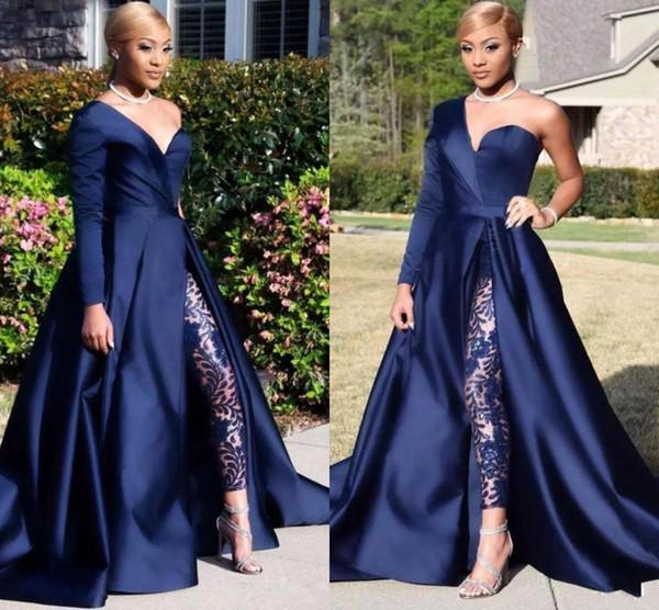 Элегантные вечерние платья с длинным рукавом на одно плечо Брюки-Line Темно-синий С