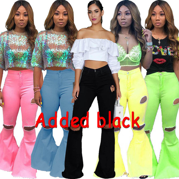 Women denim Flared long pants Bell Bottom jeans trousers sexy hole ripped full length leggings bodycon streetwear stylish Clothing plus size