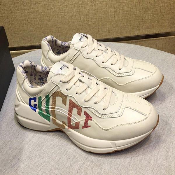 Высокое Качество Мужская Обувь Мода Rhyton Кожаные Кроссовки Обувь Zapatos de Hombre Спорти