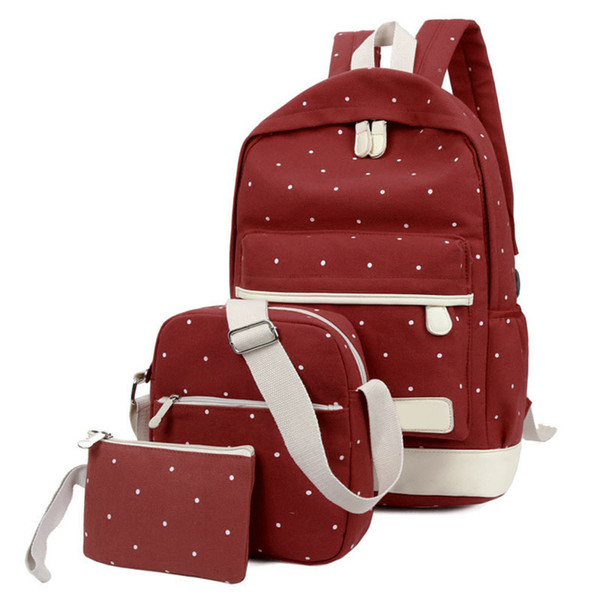selling gym bags 3pcs set backpack with purse women lady girl canvas for outdoor shopping school (522916159) photo