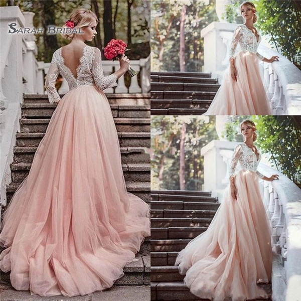 Blush Pink Lace 2019 A line Wedding Dresses V-Neck Long Sleeve Backless Appliques Tulle Sweep Train wedding gowns