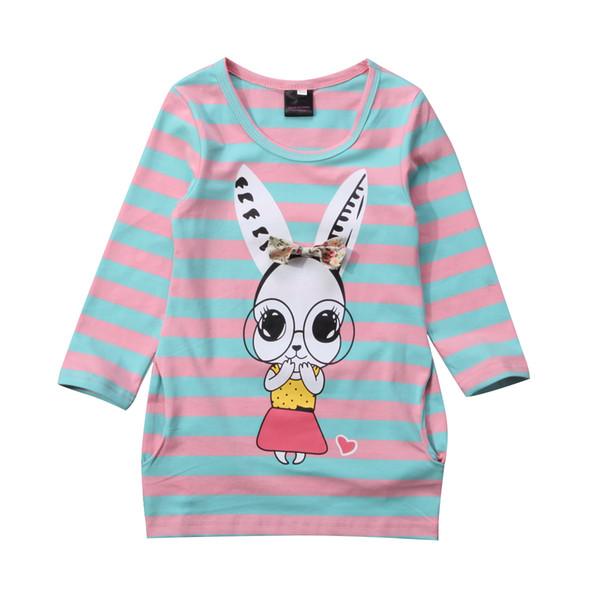 Малыш малыш девочка Кролик наряды одежда с длинным рукавом полосатое платье футболка платье принцессы 2Y 3Y 4Y 5Y 6Y 7Y фото
