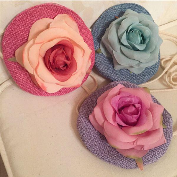 children's messenger bag handmade rose flower purse kid shoulder bag wallet coin purse pouch decoration monedero portemonnee (496340544) photo