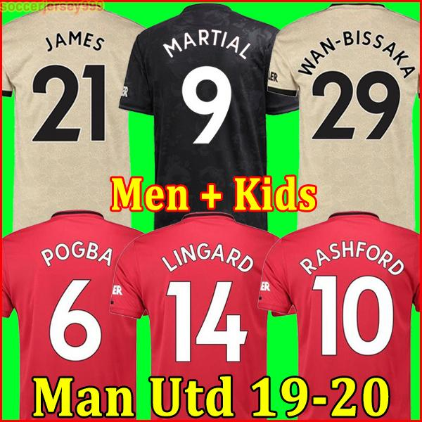 Thailand fc manche ter pogba  occer jer ey 2019 2020 lingard lukaku ra hford football  hirt united utd 19 20 uniform  man   kid  kit jer ey