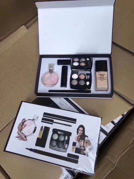New 6 in 1 makeup et perfume matte lip tick eyeliner ma cara liquid foundation 6pc women co metic kit with box