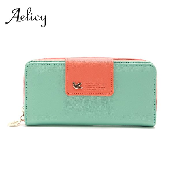 aelicy women long wallet zipper female wallet patchwork color zipper purse multifunction girl's purse money bag (494394900) photo