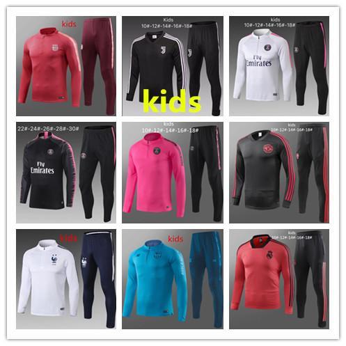 New kids Psg tracksuit 2018-2019 psg soccer jogging jacket MBAPPE POGBA 18/19 Paris child Football Training suit