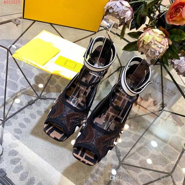 Высококачественные женские босоножки на высоком каблуке Вышитые рыбные босоножки Черное и розовое Свадебное платье Обувь Высокого класса, мода и стабильность