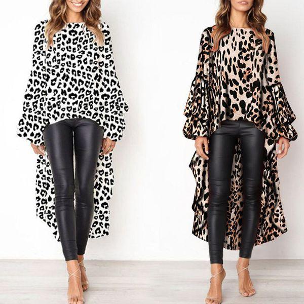 Женщины осень с длинным рукавом леопардовый принт футболка длинный топ нерегулярные подол толстовка футболка фото