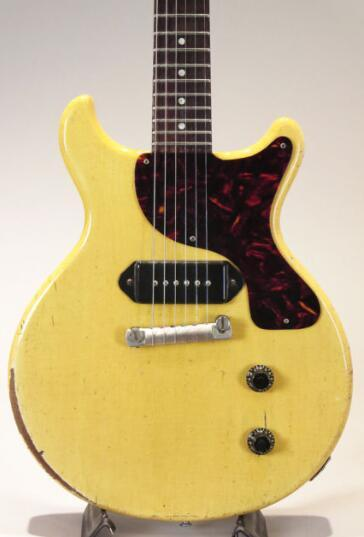 1959 junior dc tv yellow relic electric guitar klu on tuner   p 90 dog ear  inglecoil pickup  brown tortoi e pickguard  wrab over tailpiece