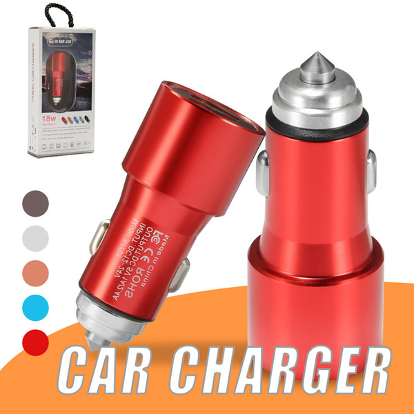 fast charging car charger adapter 18w 5v 2.4a metal dual ports usb car adapter for iphone android universal cellphones in retail box
