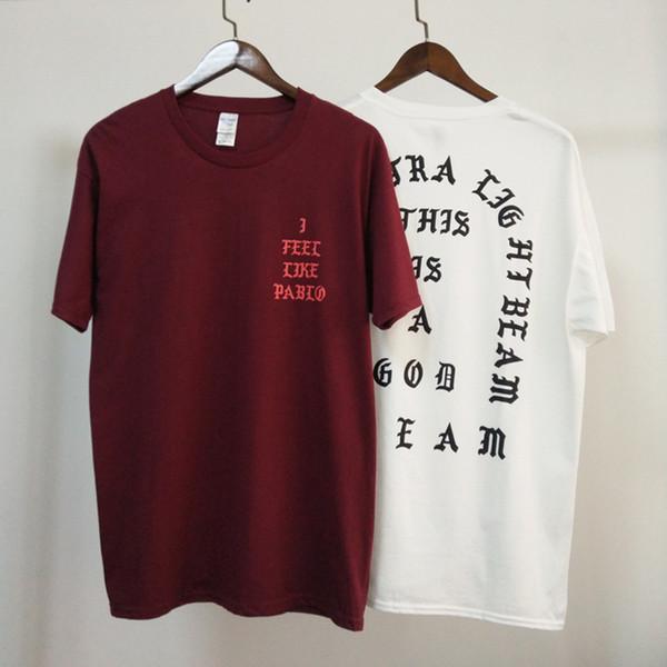 Kanye West I Feel Like Pablo Футболка с коротким рукавом Хлопковая футболка для скейтборда Мужчины Повседневная футболка Хип-хоп клуб Тройники YBF0905