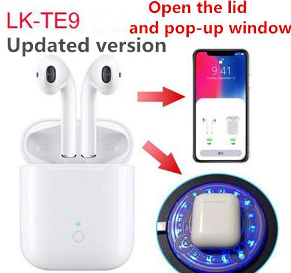 Upgrade lk te9 tw earbud open lid auto pop up window lk te9 touch wirele bluetooth 5 0 port earphone with charging box hifi tereo