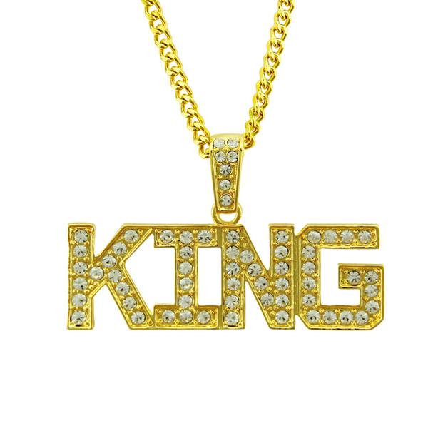 Хип-хоп кулон ожерелье письмо кулон ожерелье для мужчин Кристалл rhinestone ювелирные