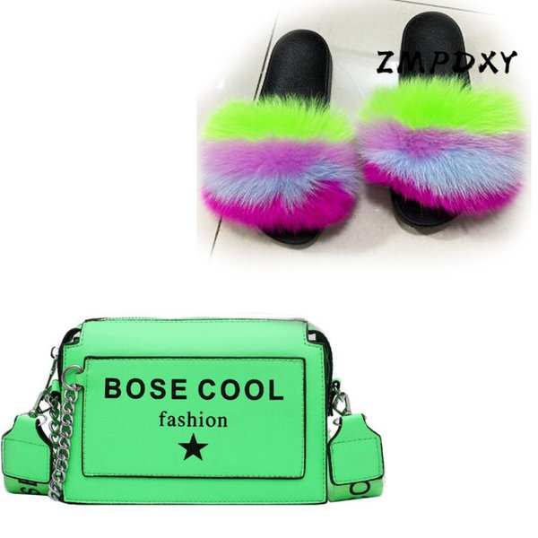 womens candy crossbody purse ladies real fur slides female fluffy furry slides woman jelly shoulder bag shoes sets flip flop (545917199) photo