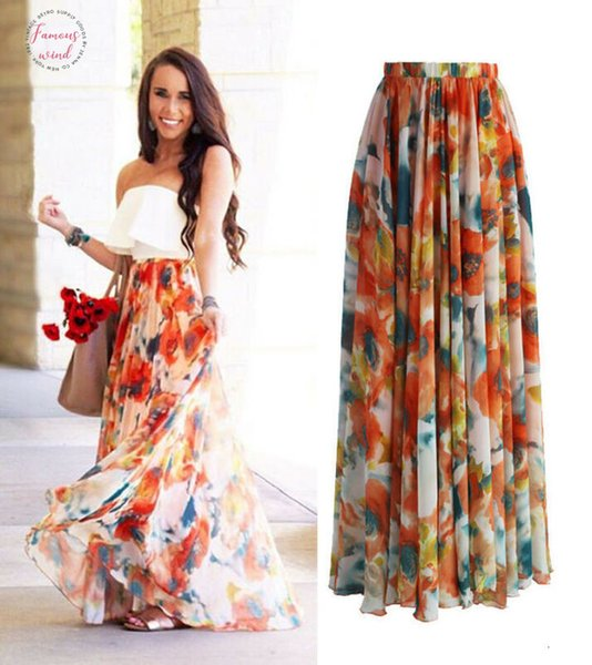 1Pc Popular Chiffon Boho Womens Floral Jersey Gypsy Long Maxi Full Skirt Beach High Quality Beautiful Ladies
