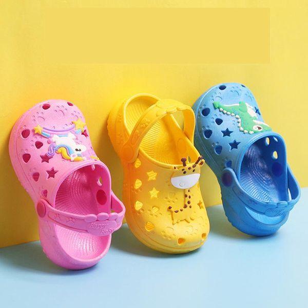 0-7 Years kids Mules & Clogs summer boys girls croc sandals flat heels solid color cartoon slippers children garden shoes y17 Y200520