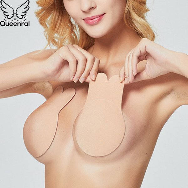 Queenral Strapless Bras For Women Invisible Sticky Bra Push Up Bralette Self Adhesive Bra Silicone Brassiere Wedding Fly Bras BH T200609