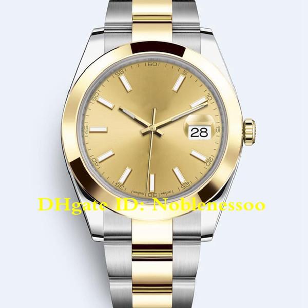 20 Цвет с коробкой Мужская 41мм Datejust 126303 Мужская сталь Золотая гладкая рамка 126334 126333 116300 126301 Юбилейная Азия 2813 Автоматические часы