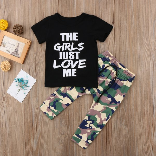2018 new kids boys  t-shirt and camo pants legging casual outfits 1-6t mon handsome wild summer fashion ch