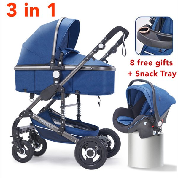 Multifunctional 3 in 1 Baby Stroller High Landscape Stroller Folding Carriage Gold Baby Newborn