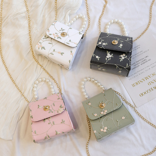 girls lace embroidery floral bags ladies purse girls flower beadhandbag toteshoulder crossbody bags girl pearl clutch bag (536241596) photo