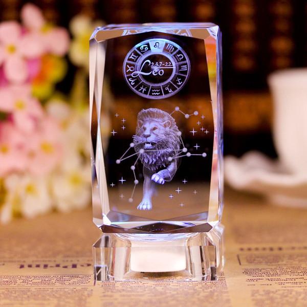 3D Знак Зодиака Звезда Хрустальный куб лазерная гравировка стеклянный блок статуэтки миниатюры ремесло домашний декор подарок на День Рождения орнамент фото