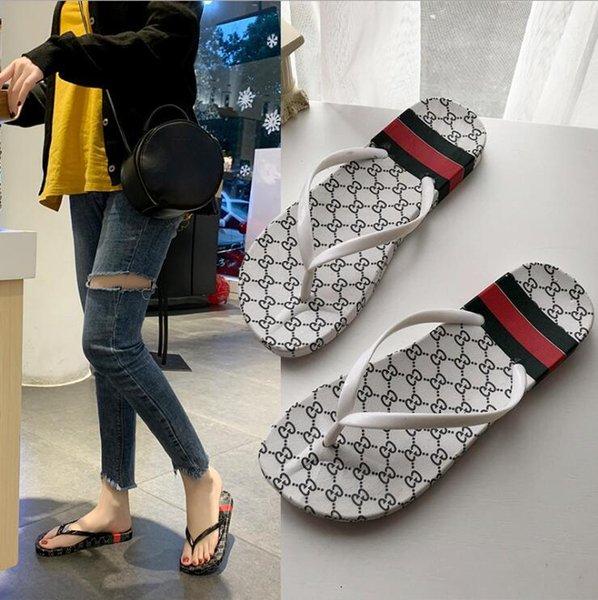 Дизайнер резиновые сандалии слайд Цветочные парчи мужские тапочки Передние днища Вьетнамки женщины полосатый пляж причинно-следственная обувь тапочки US5-11